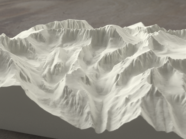 8'' Mt. Whitney, California, USA, Sandstone 3d printed Radiance rendering of model, viewed from the East, looking past Whitney Portal