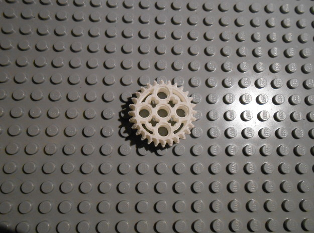 LEGO®-compatible 28-tooth bevel gear with pinhole 3d printed