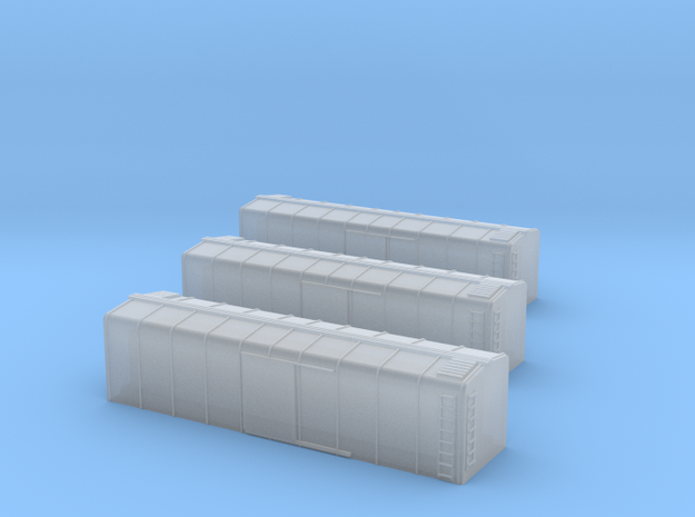 1/450 US 40ft Wagontop Boxcar x3 in Smooth Fine Detail Plastic
