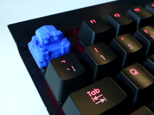 Li'l Robot Cherry MX Keycap in Blue Processed Versatile Plastic