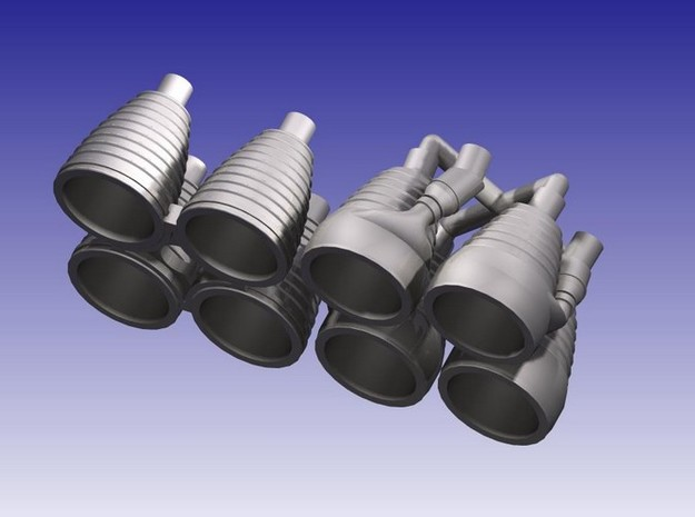 Saturn I H-1 Engines (1:200) 3d printed H-1 Engines in 1:200 Scale (CAD Rendering)