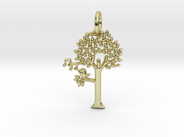Tree No.2 Pendant in 18k Gold Plated Brass