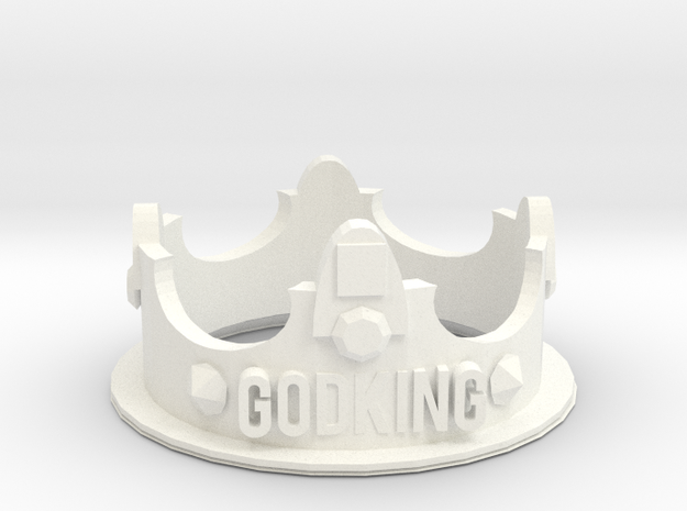 GodKING Crown - Pendant in White Strong & Flexible Polished