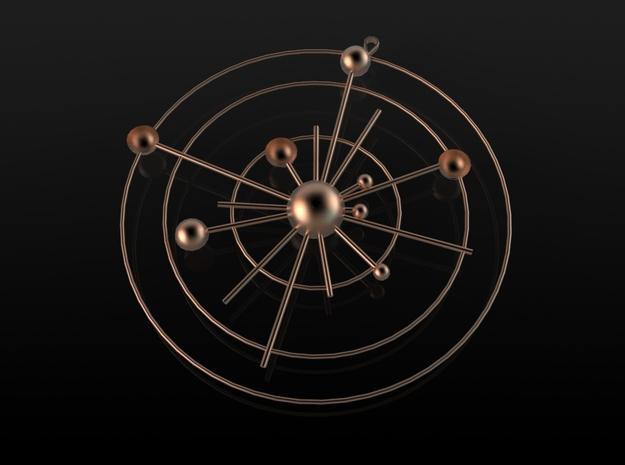 The Solar System in Polished Gold Steel