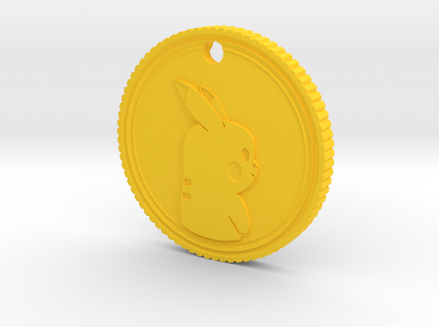 PokeCoin Medal in Yellow Strong & Flexible Polished