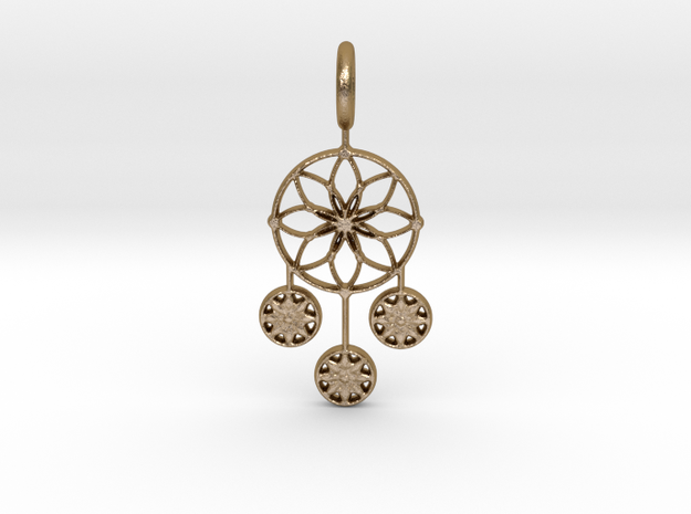 Circle Alpha Pendant in Polished Gold Steel