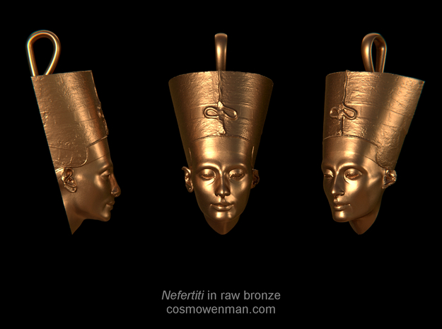 Nefertiti necklace pendant in Natural Bronze