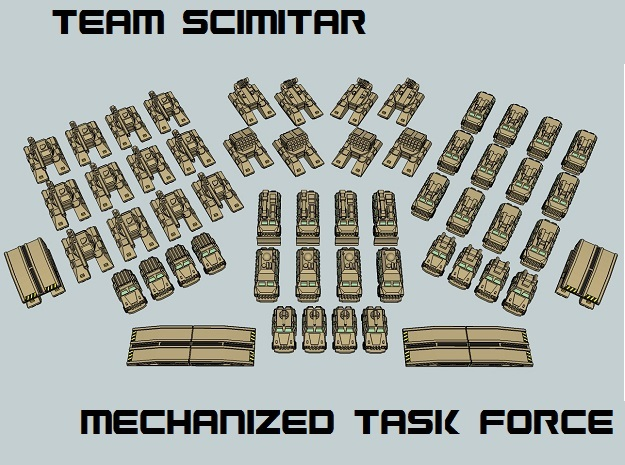 """Team Scimitar"" 3mm Mechanized Task Force (52 pcs) in White Strong & Flexible"