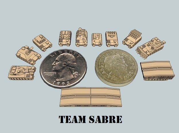 """Team Sabre"" 3mm Tracked Armor Sample Pack in White Strong & Flexible"