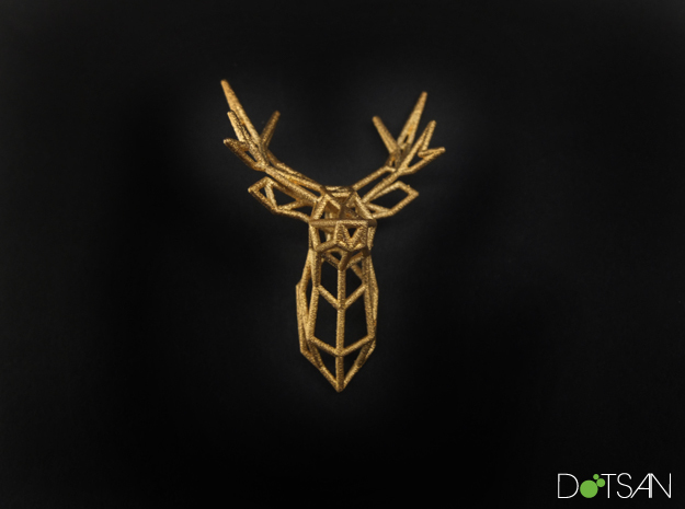 Stag Deer Facing Forward Pendant in Polished Gold Steel