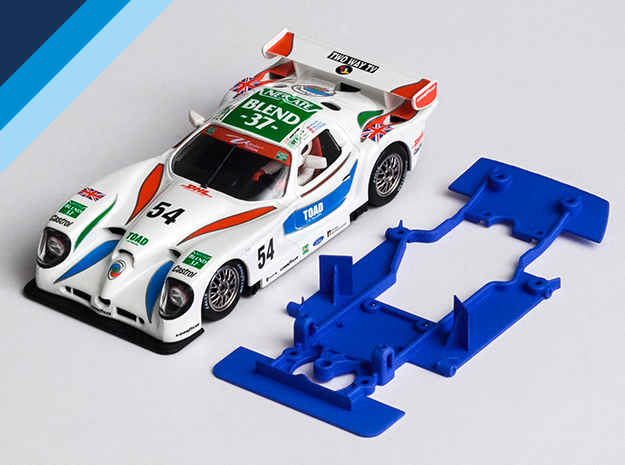 1/32 Fly Panoz GTR-1 Chassis for slot.it pod in Blue Processed Versatile Plastic