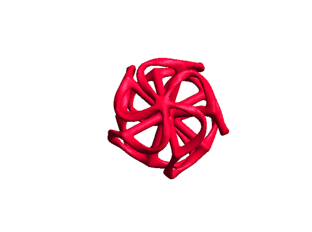Dodecahedron Mesh - small in Red Processed Versatile Plastic