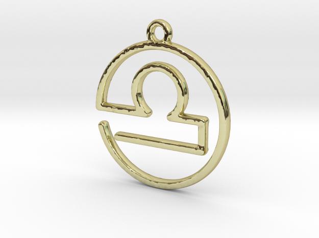 Libra Zodiac Pendant in 18k Gold Plated Brass