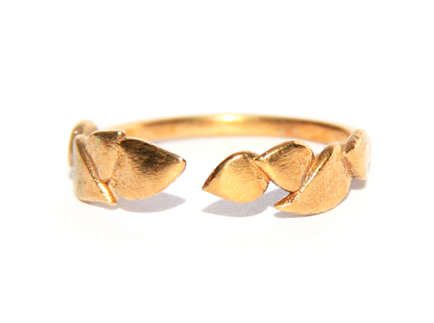 Delicate Leafs Ring in Natural Bronze: Medium