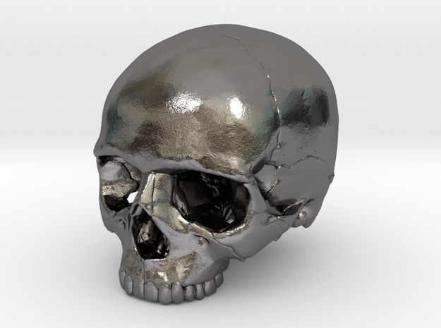 Skull    30mm width in Polished Nickel Steel