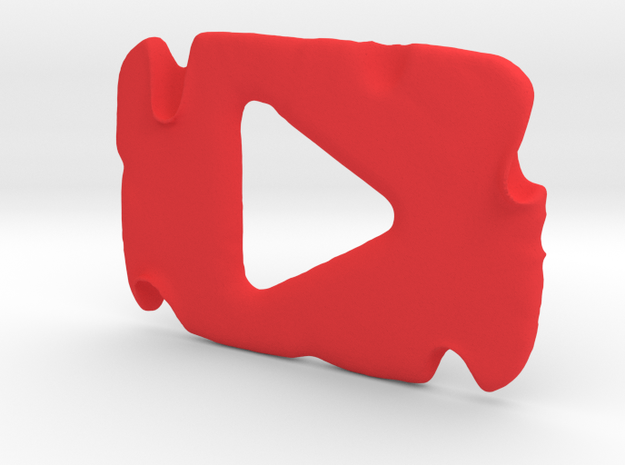 Destroyed YouTube Play Button in Red Strong & Flexible Polished