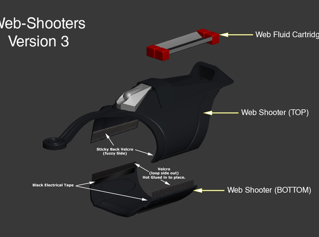 Spider-Man Homecoming Web Shooter (v3) -TOP in Black Strong & Flexible