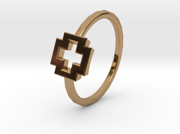 Dainty Plus Ring in Polished Brass