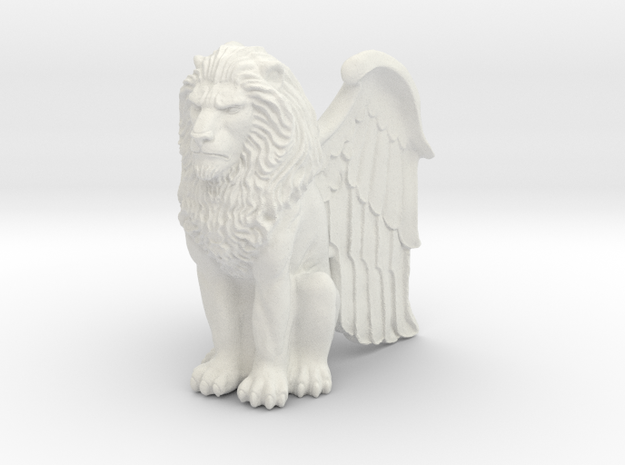 Lion, Winged, 42mm in White Natural Versatile Plastic