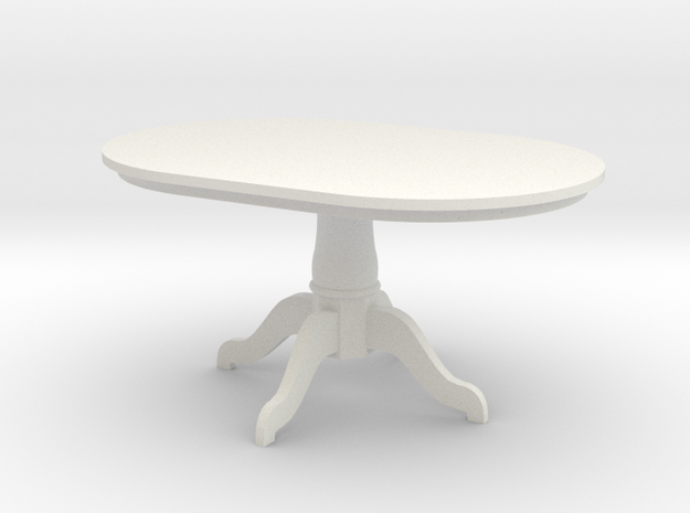 1:24 Pedestal Dining Table in White Natural Versatile Plastic