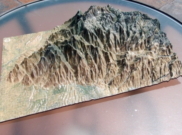 Santa Catalina Mountains Map in Glossy Full Color Sandstone