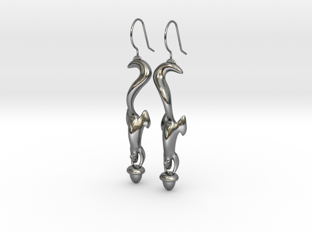Squirrely Earrings in Polished Silver