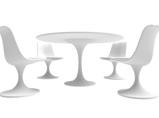 1:24 Tulip Table with 4 Chairs - Eero Saarinen
