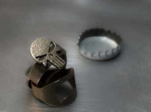 Punisher Bottle Opener Ring in Stainless Steel