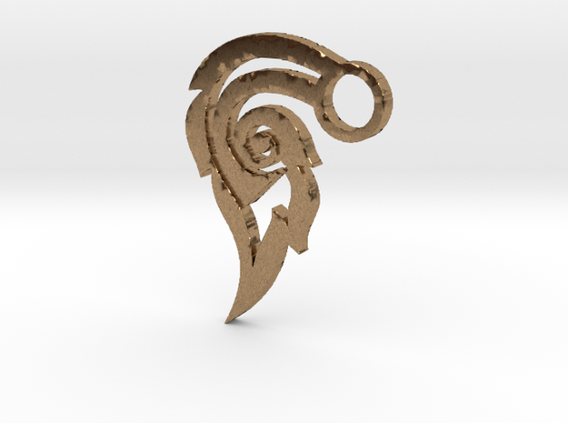 Thai Art Pendant  in Raw Brass