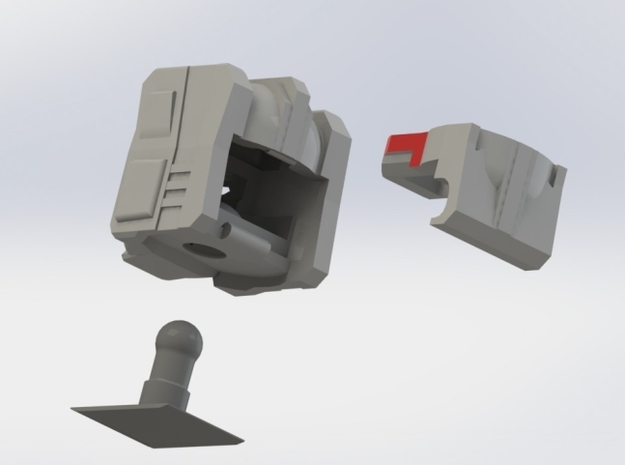 FOC Grimlock Head Kit 3d printed Pre-Assembly Model