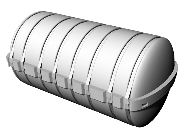 Life raft container B 5x 1/50 in White Strong & Flexible