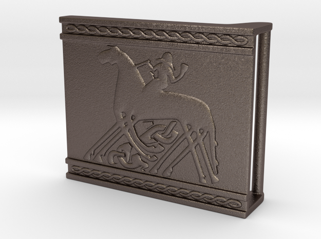 Sleipnir belt buckle in Polished Bronzed Silver Steel