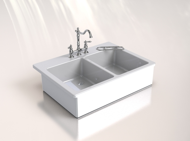 Miniature Doll House Kitchen Sink C, 1:12 in White Processed Versatile Plastic