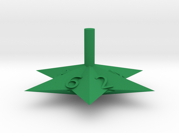 6 Sided Star Top in Green Processed Versatile Plastic