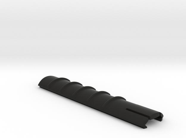 Ribbed Picatinny rail cover in Black Natural Versatile Plastic