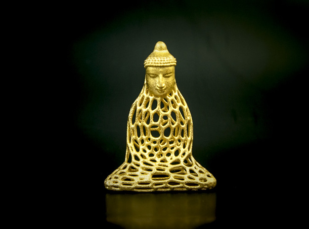 Golden Buddha in Polished Gold Steel
