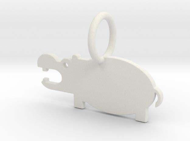 Hippopotamus Keychain in White Natural Versatile Plastic
