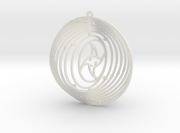 Pendant Wind Spinner Circle Sun and moon in White Strong & Flexible