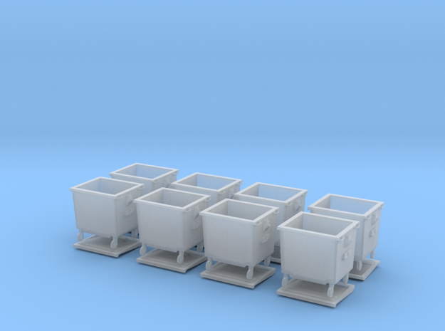 H0 Rubbish bins set ( 8 pcs ) 1:87 scale  in Frosted Ultra Detail