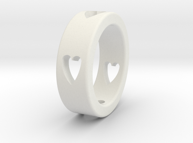 LOVE RING Size-11 in White Natural Versatile Plastic