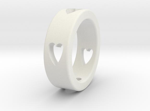 LOVE RING Size-11 in White Natural Versatile Plastic