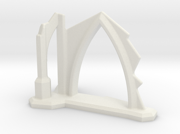 Gothic Arch and Flying Buttress Ruin 6mm Scale in White Natural Versatile Plastic