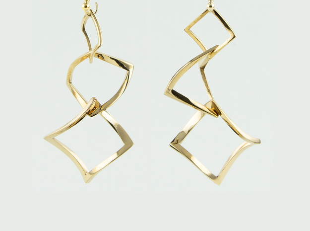 Twisted squares earrings in Interlocking Polished Bronze