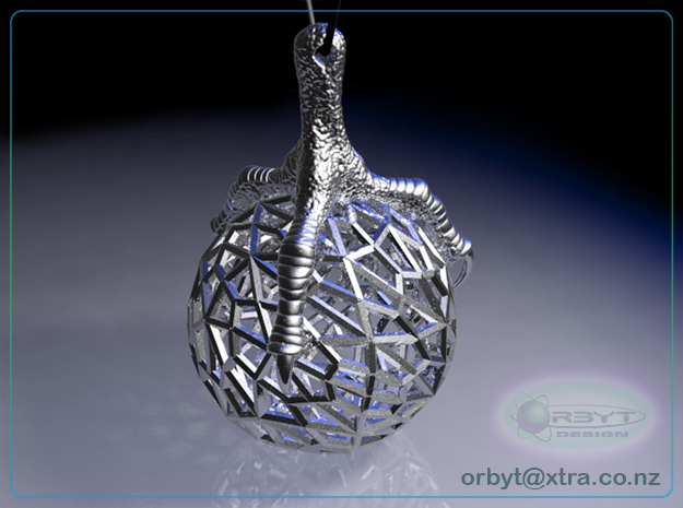Raptor Claws - Orb & Eagle's Foot pendant ~ 46mm 3d printed Orb & eagle's foot pendant raytraced render simulating polished silver material