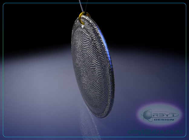 Asteromphalus Diatom pendant ~ 39mm 3d printed Asteromphalus Diatom pendant oblique view raytrace render simulating polished silver material