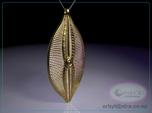 Navicula bullata Pendant ~ 46mm tall (1.8 inches) 3d printed Raytraced render of Navicula bulatta 46mm pendant simulating 14k gold plated material