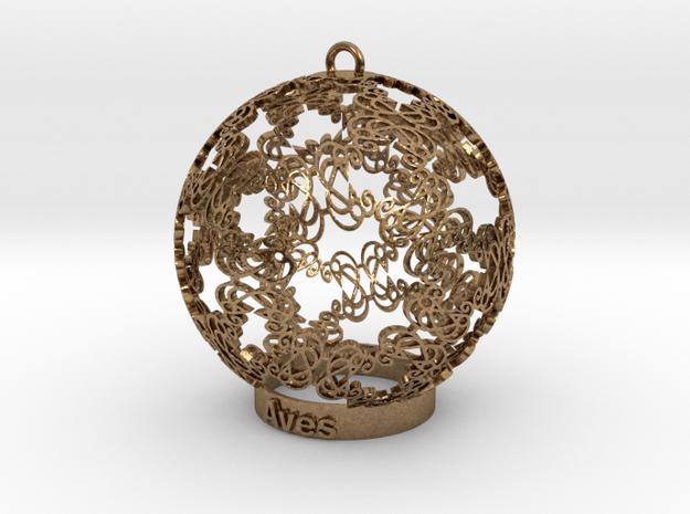 Aves Ornament for lighting in Natural Brass