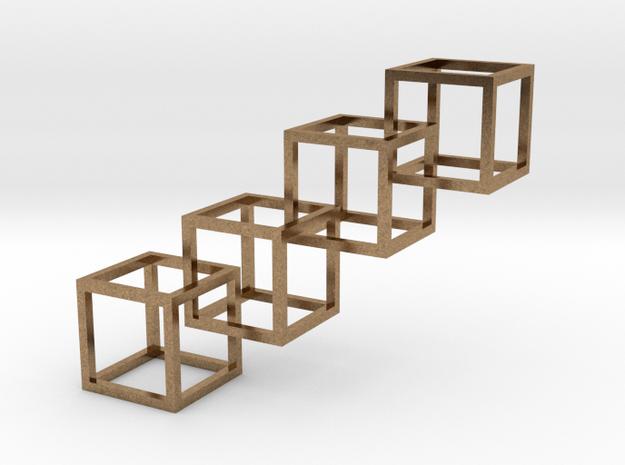 Interlocking cube 4 in Interlocking Raw Brass