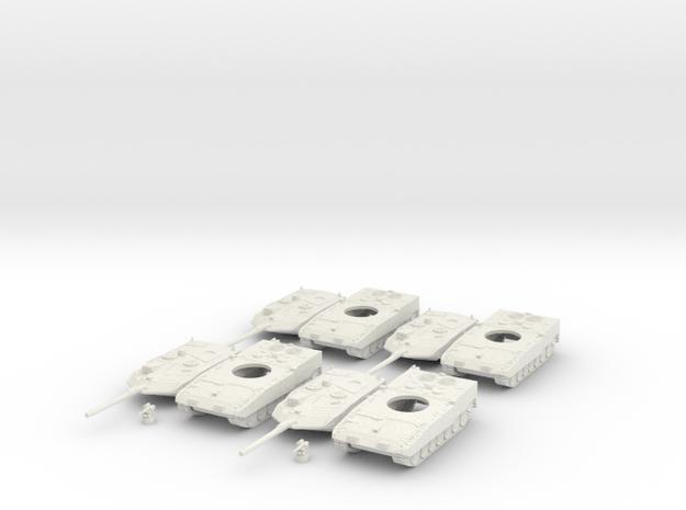 Leopard 2a7 (4 vehicles) 1:160 scale in White Natural Versatile Plastic