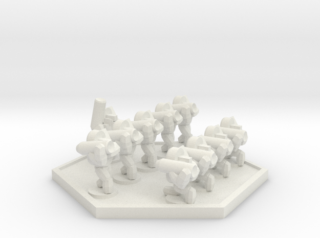 UWN Army Planetary Guard Anti-Armour Squad (Hex) in White Natural Versatile Plastic